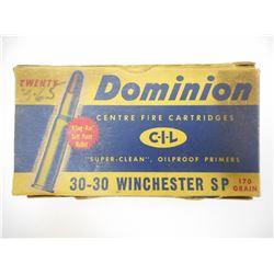 DOMINION 30-30 WINCHESTER SP AMMO, BRASS