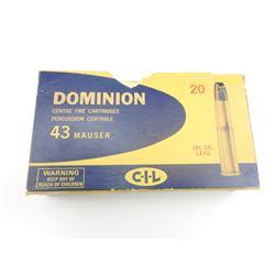 DOMINION 43 MAUSER AMMO,  BRASS