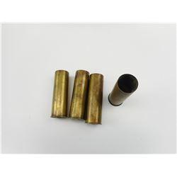 4 BRASS 12 GAUGE SHOTSHELL CASES, ONE PRIMED