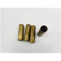 4 BRASS 12 GAUGE SHOTSHELL CASES, ONE PRIMED