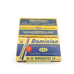 DOMINION 30-30 WINCHESTER AND SOFT POINT AMMO