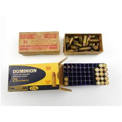 DOMINION 25 ACP AMMO, BRASS