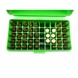 225 REM AMMO, BRASS IN HARD PLASTIC CASE