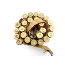 12 GAUGE SHOTSHELLS IN LEATHER SHOTSHELL BELT