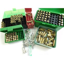 AMMO ASSORTED LOT, BRASS, 222 REM, 40-82,32 S & W, 225 WIN, 44-40, 38 SPL + P