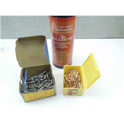 ALLIANT BULLSEYE SMOKELESS PISTOL POWDER, 38 CAL BULLETS