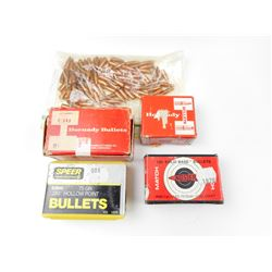 BULLETS ASSORTED SIZES, INCLUDING 6MM, 6.5, .22 CAL BULLETS
