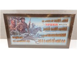 SPEER BULLETS DISPLAY, WITH LEWIS AND CLARK, FRAMED, AND SEALED