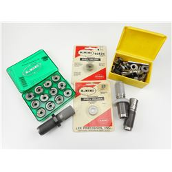 RELOADING PIECES, SHELL HOLDERS, ASSORTED DIES, LEE UNIVERSAL SHELL HOLDER SET
