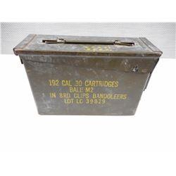 METAL AMMO TIN, CAL. 30 CARTRIDGES BALL M2