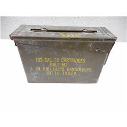 METAL AMMO TIN, CAL. 30 CARTRIDGES BALL M2