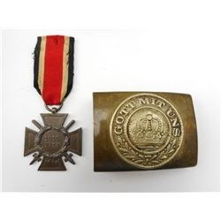 GERMAN WWI CROSS MEDAL & BELT BUCKLE