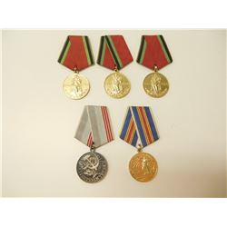 RUSSIAN SOVIET MILITARY MEDALS WITH RIBBONS
