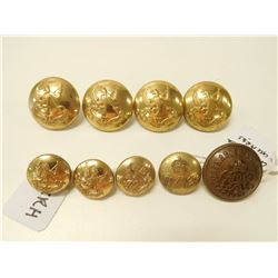 DCRCH, GRENADIER GUARDS, & DUKE OF YORK ROYAL CANADIAN HUSSARS UNIFORM BUTTONS