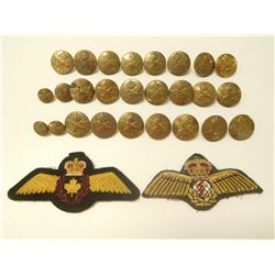 R.C.A.F. UNIFORM BUTTONS & CANADIAN AIR FORCE CHEST CLOTH WINGS