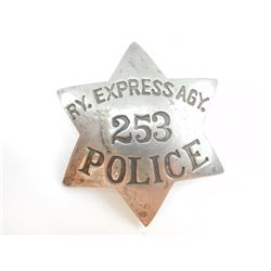 ANTIQUE POLICE 6-POINT STAR CHEST BADGE