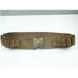 PRISON GUARD CANVAS CARTRIDGE BELT WITH BRASS FORT SMITH GUARD BUCKLE