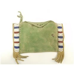 SMALL PLAINS INDIAN BEADED BUCKSKIN BELT BAG