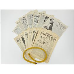 ASSORTED WWII DATED NEWSPAPERS & CORD FOR CANADIAN/BRITISH BUSBY