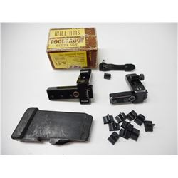 ASSORTED RIFLE SIGHTS & COOEY .22 CAL MAG FOR 64