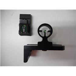 GREEN FIBER OPTIC SIGHT & WILLIAMS REAR BARREL MOUNT FIBER OPTIC OPEN SIGHT