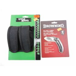 BROWNING FOLDING KNIFE & UNCLE MIKE'S DOUBLE MAGAZINE HOLSTER