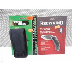 BROWNING FOLDING KNIFE & UNCLE MIKE'S MAGAZINE HOLSTER