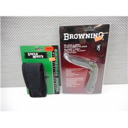 BROWNING FOLDING KNIFE & UNCLE MIKES MAGAZINE HOLSTER