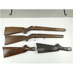 ASSORTED WOODEN GUN STOCKS INCLUDES .22 FULL STOCKS & SHOTGUN BUTT STOCKS