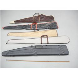 ASSORTED RIFLE CASES & ROD WITH WORM BULLET PULLER
