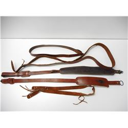 ASSORTED LEATHER RIFLE SLINGS SOME PADDED