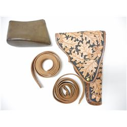 DECORATED LEATHER HOLSTER WITH EXTRA LEATHER & SLIPON BUTT PAD