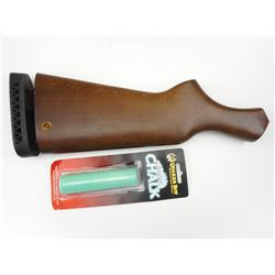 WOODEN GUN STOCK & BOX CALL CHALK