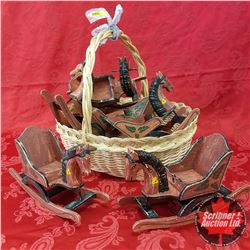 Seagrass Basket Lot: Wooden Christmas Rocking Horses (6)