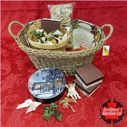 Seagrass Basket Lot: Basket of Bows, Cherub Orn, Xmas Collector Plates (2), Tin, Trinket Boxes