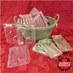 Seagrass Basket Lot: 3 Candy Cane Choc. Moulds With Packaging (22 Boxes)