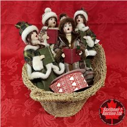 CHOICE OF 2: Seagrass Basket Lots w/Contents (Standing Xmas Caroling Dolls (4) + Roll of Ribbon)