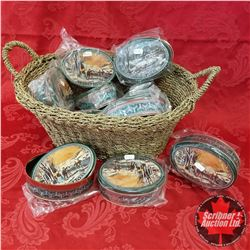 Seagrass Basket Lot: Oval Currier & Ives Tins (11)