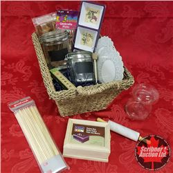 CHOICE OF 2: Seagrass Basket Lots w/Contents: Hostess Theme (Condiment Trays, Frame Box, Mushroom Ja