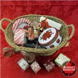 Seagrass Basket Lot: Christmas Ribbon, Tins, Rocking Horse, etc