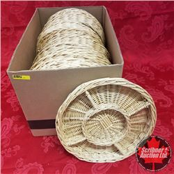 "CHOICE OF 6 Box Lots: Wicker 5 Section Snack Tray 12"" Round (11 Per Box)"
