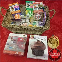 Seagrass Basket Lot: Cupcake Supplies (Baking Cups, Martha Stewart Recipe Book etc)