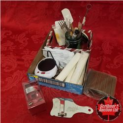 Tray Lot: Combo Cutter, Variety Kitchen Utensils, Cake Pop Sticks, White Gloves, Coffee Warmer, etc