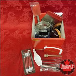 CHOICE OF 6 Box Lots: Chocolatier Starter Kits : Utensils, Canister, Chocolate Tools, Gloves, Ribbon