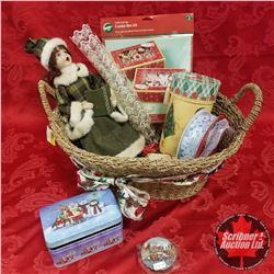 CHOICE OF 2 Seagrass Basket Lots: Christmas Theme (Doll, Trinket Tin, Ribbon, etc)