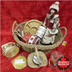 CHOICE OF 2 Seagrass Basket Lots: Christmas Theme (Doll, Trinket Tin, Ribbon, etc)