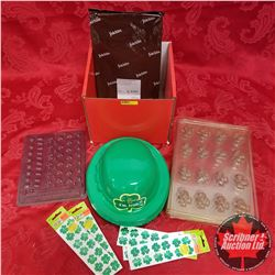 Red Box Lot: St. Patrick's Day Theme (Hats, Stickers, Moulds & Felchlin Chocolate)