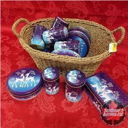 Seagrass Basket Lot: Blue Christmas Tins (14)