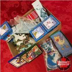 """Large Tray Lot: Christmas Village """"Ice Fishing"""" House, Boxes, Bags, Cards, etc !"""
