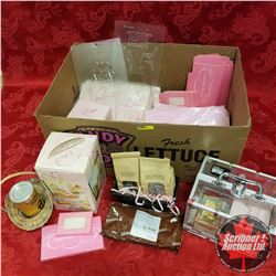 Box Lot: Pink Theme  (Glass Trinket Boxes, Moulds, Baskets, Lockable See Through Carry Case, Bags, C
